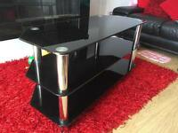 Glass TV stand black with chrome
