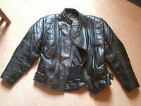 Black leather motorcycle jacket Size 42