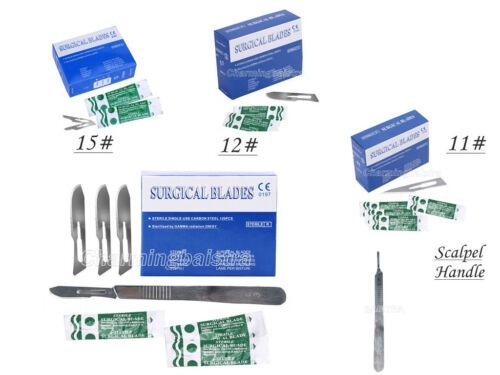 Scalpel Handle+100 Pcs Dental Surgical Sterile Scalpel Blades 10#/11#/15#