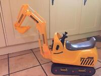 Kids yellow micro excavator with helmet