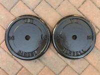 "York 10kg x 2 weights cast iron 1"" hole"
