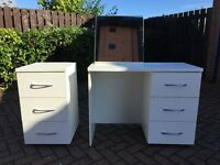 White dressing table, mirror and set of matching draws.
