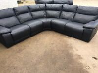 Ex Large Black Leather with Electric Recliner Corner Suite
