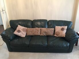 Set of 3 Pure Leather Rich look large sofas Good condition