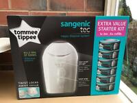 New Tommee Tippee Sangenic Baby Nappy Disposal Tub + 6 Refills Cassettes