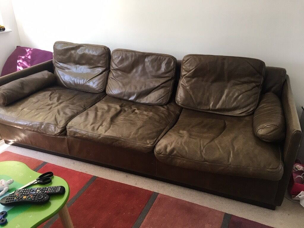 Modern design, large leather sofa in brown leather
