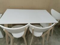 Dining Table & 3 Chairs - White