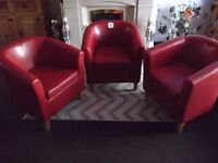 3 red leather tub chairs, brand new unwanted gift, cost £175 accept £75