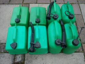 8 green petrol / diesel 5L fuel cans good clean inside some with Flexible Spouts fit all