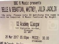 BBC Radio 6 Music Festival Glasgow: Sunday 26th March, Belle & Sebastian, Whitney and Julia Jacklin