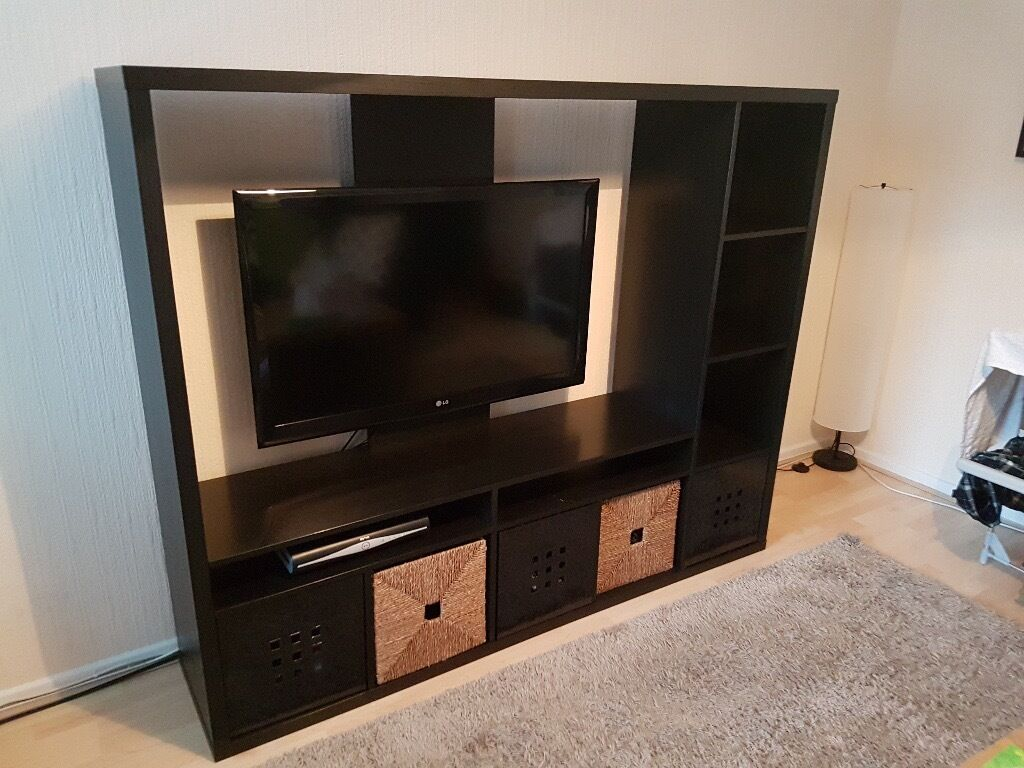 Ikea lappland tv unit includes storage baskets and tv for Ikea tv mounts
