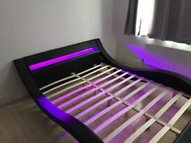 King size Modern designer black bed frame with LED lights (multicolour options with remote)