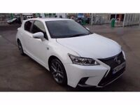 2016 Registered / LEXUS CT 200h 1.8 F Sport E CVT 5drs Hybrid / £0 Tax / White / Almost Immaculate.