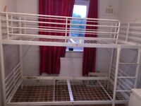 URGENT! White metal single bunk bed for sale