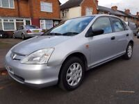 HONDA CIVIC 1,5 SILVER 2002 ONLY 76000 WARRANTED MILES 9 HONDA STAMPS STARTS AND DRIVES NEEDS PEPAIR