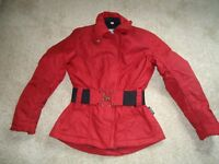 Ladies Fabric Motorcycle Jacket, Red, Zip-out thermal lining