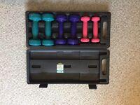 Boxed set of dumbells 0.5kg 1.0kg and 1.5 kg