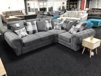 Right hand side grey fabric corner sofa