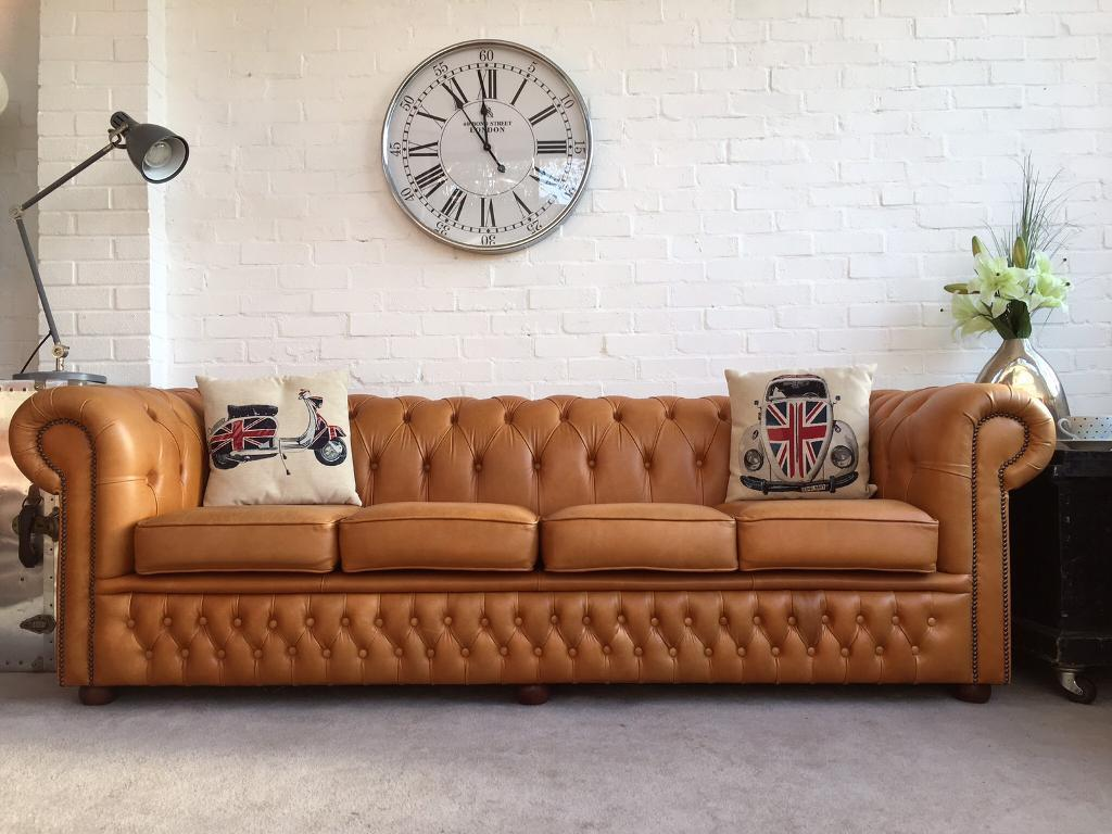 Rare Stunning Tan 4 Seater Chesterfield Sofa Can Deliver