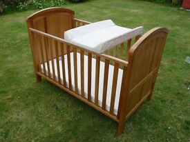 Cotbed (Mothercare 3 in 1 )inc.Deluxe Mattress & Baby Changer, Excellent condition, hardly used