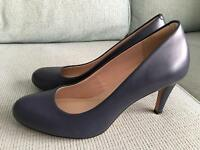Size 6.5 ladies navy Clarks brand court shoes