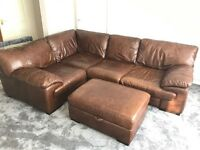 Brown Leather DFS corner sofa with storage footstool