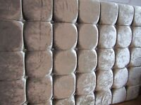 Reduced price!!! Brand new double headboard in silver crushed velvet with crystal buttons