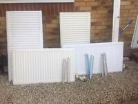 4 radiators and brackets therm valves £25 the lot