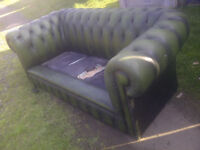 Green Chesterfield 3 Seater Sofa in need of Repair