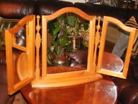 Triple Swivel Pine Dressing Table Mirror