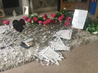 Wedding items jars flowers garland bunting
