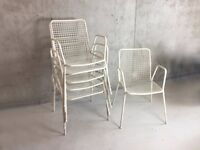 A set of 6 mid century 1970's white painted metal outdoor chairs