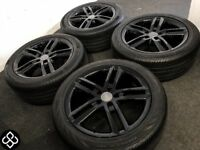 "GENUINE AUDI 18"" ALLOY WHEELS & CONTINENTAL TYRES (Fits VW) - 245/45/18 - 5 x 112"