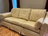 2 Sofas - 2 x large three seaters in cream brocade. Would sell separately