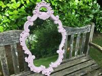 Hand painted ornate oval mirror in cinder rose