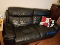 Leather reclining sofa (manual recline)