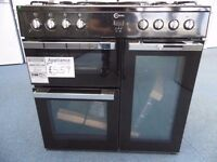 EX-DISPLAY BLACK FLAVEL DUAL FUEL 90 CM WIDE RANGE COOKER REF: 31270