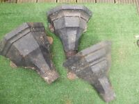 3 Antique hoppers good enough to be used as gutter replacement or as garden ornament