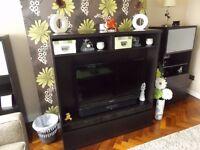 Dark Brown TV Cabinet & Pair of Matching Units