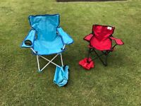 Two Children's Foldable Chairs for Camping, Beach, Garden or Bedroom
