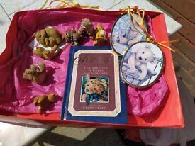 Various teddy ornaments plus