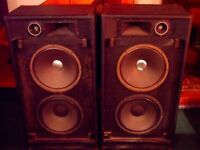 "Fender 2-12HF 2x12"" Vintage PA Full Range Speakers + Tweeter & Horn, Good Condition - TESTED OK!"