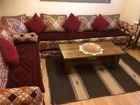 Moroccan corner sofa suite red and gold. Imported from Morocco. In good condition.