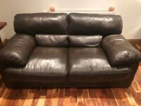 Brown leather sofa and dining chairs