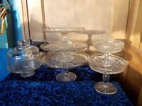 Glass cake stand collection ect