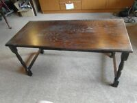 TUDOR-LOOK COFFEE TABLE, DARK WOOD (could also use for TV)