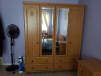 Wooden Pine Double Wardrobe - Good Condition - QUICK SALE