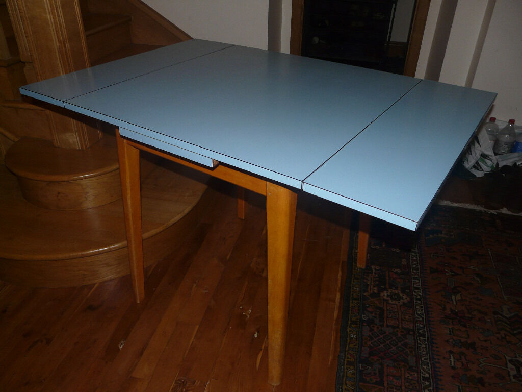 Vintage kitchen table formica - Vintage Beech Extending Kitchen Table Blue Formica Melamine Top Great Condition Sold Stc