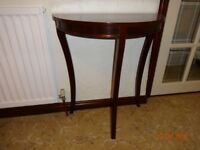 Attractive mahogany small half-moon hall table