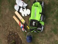 Bag of cricket equipment (yellow bat not included)